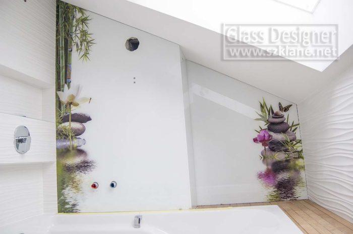 kamienie, woda kwiaty w łazience