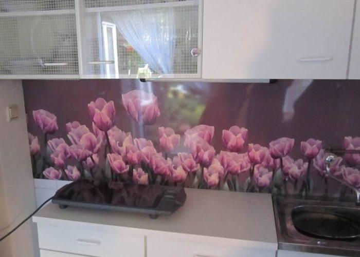 panel szklany kwiaty