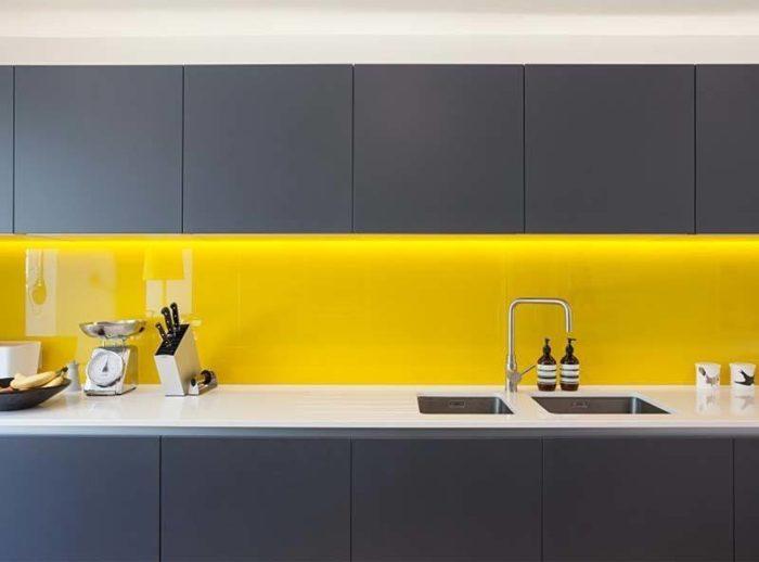 Panel szklany zółty