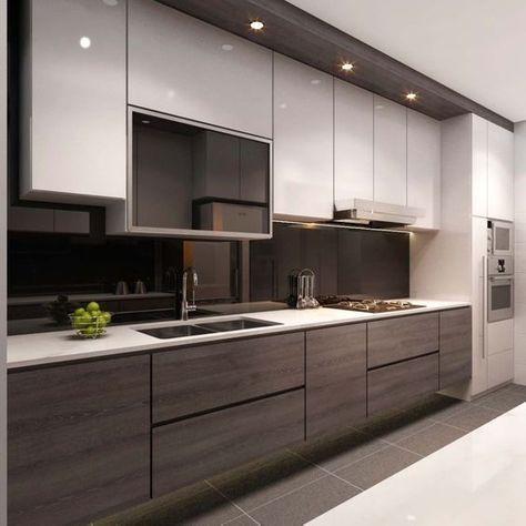 Czarny panel szklany w kuchni